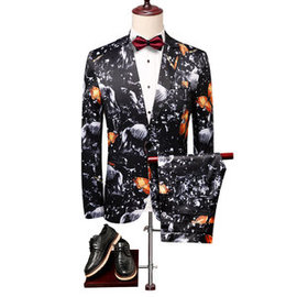 Floral slim fit costumes ensemble costume noir costume homme