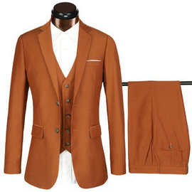 Formel affaires costumes costumes 3 pièces terno masculino slim fit marron marque
