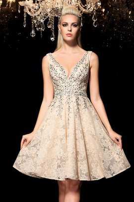 Robe de cocktail naturel bref de princesse v encolure ligne a