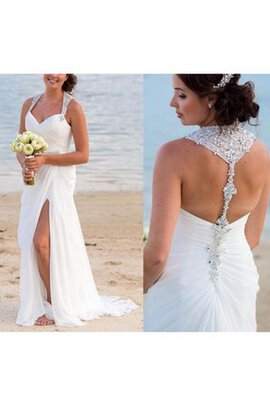 Robe de mariée simple luxueux gaine en chiffon sans dos