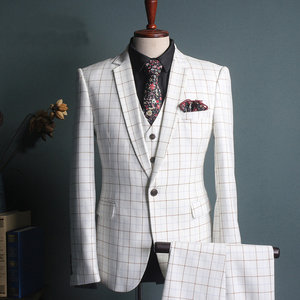 Blanc terno costumes pour hommes mode mariage bureau masculino